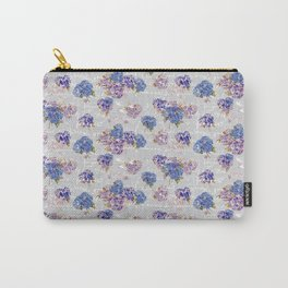 Hydrangeas and French Script with birds on gray background Carry-All Pouch