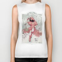red riding hood Biker Tanks featuring RED RIDING HOOD by Lorena Carvalho
