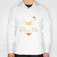 folk Hoodies featuring Folk Chicken by Jenny Tiffany