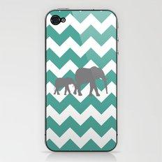 Chevron Elephants (teal and grey) iPhone & iPod Skin