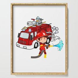 Firefighter has birthday 3 years Serving Tray
