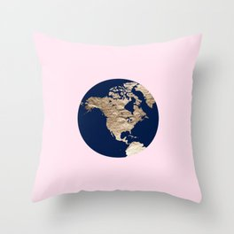 Navy & Pink Slice of the Earth Throw Pillow