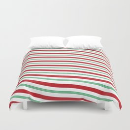 Red White and Green Christmas Candy Cane Pattern Duvet Cover