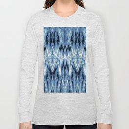 Blue Satin Shibori Argyle Long Sleeve T-shirt