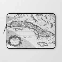 Vintage Map of Cuba and Jamaica (1763) BW Laptop Sleeve