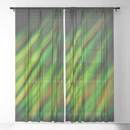 Colorful neon green brush strokes on dark gray Sheer Curtain