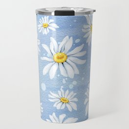 Spring Daisies On Sky Blue Watercolour Travel Mug