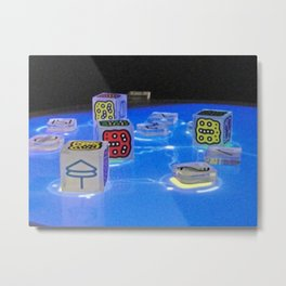 Picture dices on blue ground Metal Print