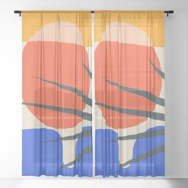 Mid Century Modern Abstract Wall Art Print, Yellow And Black Abstract Print, Modern Retro Art, Livin Sheer Curtain