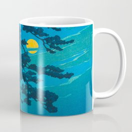 Vintage Japanese Woodblock Print Kawase Hasui Haunting Tree Silhouette At Night Moonlight Coffee Mug