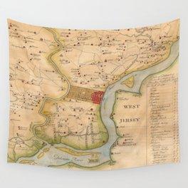 Vintage Map of Philadelphia Pennsylvania (1750) Wall Tapestry