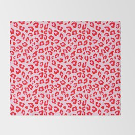 Leopard Print - Red And Pink Throw Blanket