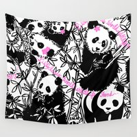 pandas Wall Tapestries featuring Pandas by beach please