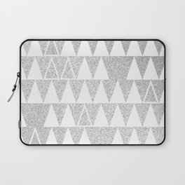 Silver and White Triangles Laptop Sleeve