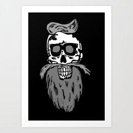 Hipster skull Art Print