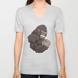 Gorilla At The Gym | Fitness Training Muscles Unisex V-Neck