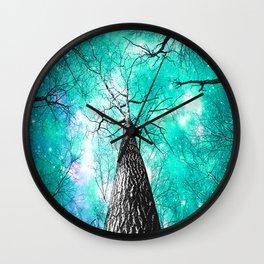 Wintry Trees Galaxy Skies Seafoam Mint Aqua Wall Clock