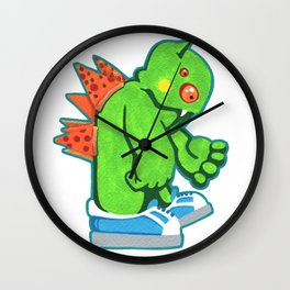 Kaiju Food Monster Pizzaback Wall Clock