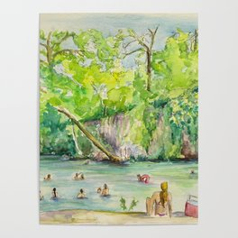 Krause Springs - historic Texas natural springs swimming hole Poster