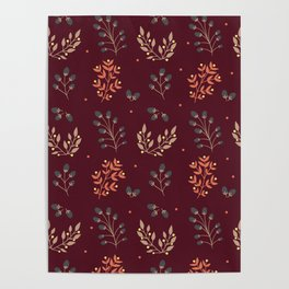 RED MERLOT FLORAL FALL Poster