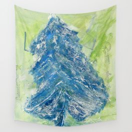 Snowy Christmas Tree - Painting by young artist with Down syndrome Wall Tapestry