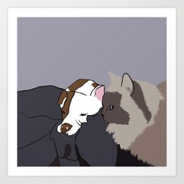 A Pit Bull and Her Kitty Art Print