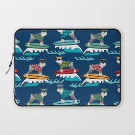 schnauzer surfing dog breed pattern Laptop Sleeve