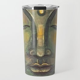Rusty Golden Buddha Face - Zen and Balance Watercolor Painting Travel Mug