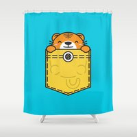 pocket fuel Shower Curtains featuring Pocket Tiger by Steven Toang