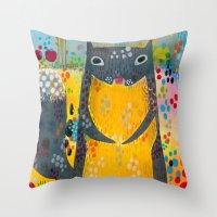 squirrel Throw Pillows featuring Squirrel by Madara Mason Studio