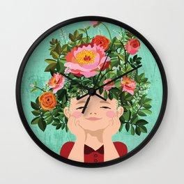 Spring Flower Girl Wall Clock