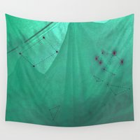 geometry Wall Tapestries featuring Geometry green ghost by BIGEHIBI