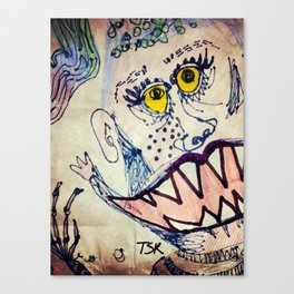 Yellow eyed monster Canvas Print