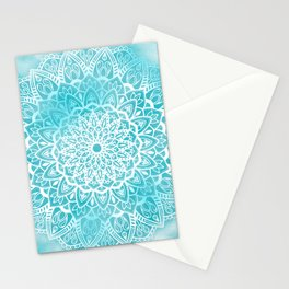 Blue Sky Mandala in Turquoise Blue and White Stationery Cards