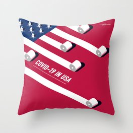 C0VID-19 IN USA Throw Pillow