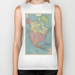 Vintage Map of North America (1903) Biker Tank