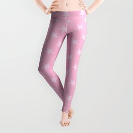 Pink Lace Pink on Cotton Candy Pink Stars Leggings