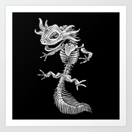 Axolotl Skeleton Art Print
