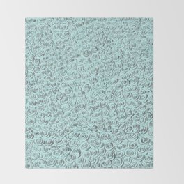 Aqua and Gray Rose Flurry Throw Blanket