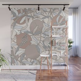 Pale Winter Hues Pomegranate Fruit Branches with Leaves Wall Mural