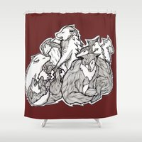 wolves Shower Curtains featuring Wolves by Freja Friborg