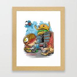 ramen vs hamburger Framed Art Print