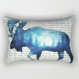 Double Exposure Moose | Night Sky Forest | Trees | Book Page | Vintage Art Rectangular Pillow