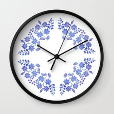 Round floral blue Wall Clock