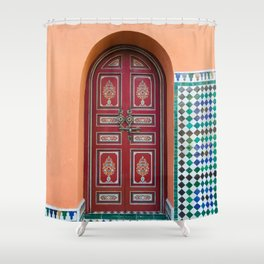 Moroccan Tile Mosaic Door in Marrakech, Morocco Shower Curtain