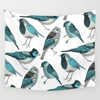 yetiland Wall Tapestries featuring pale green birds by Polkip