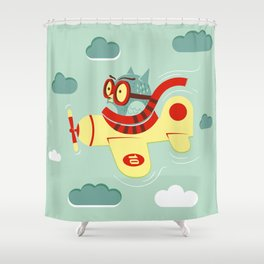 The aviator owl with glasses goes among the clouds Shower Curtain