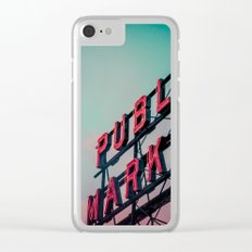 Seattle Pike Place Public Market at Dawn Clear iPhone Case