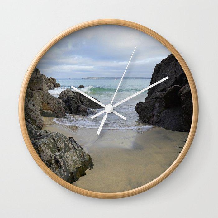 Turquoise Waves Crashing on Porthmeor Rocks Wall Clock
