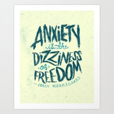 Kierkegaard on Anxiety Art Print
